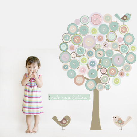 Button Tree Fabric Wall Sticker