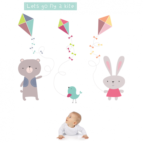 Kite flying friends wall stickers