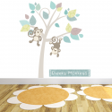 Monkey Tree Fabric Wall Stickers