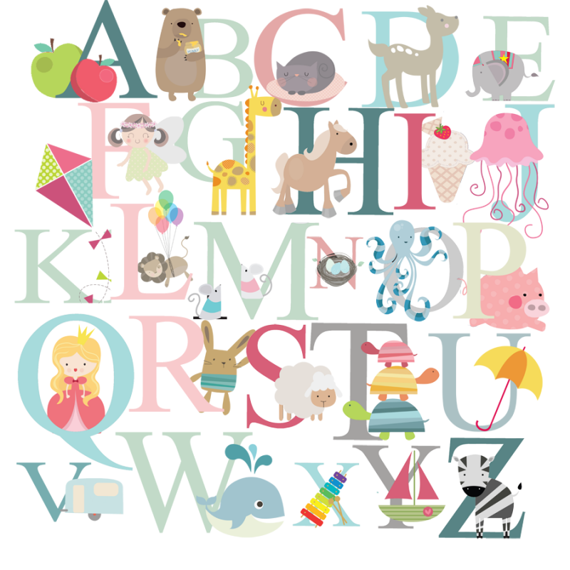Alphabet Fabric Wall Stickers Littleprints