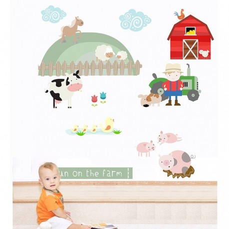 Fun On The Farm Fabric Wall Stickers