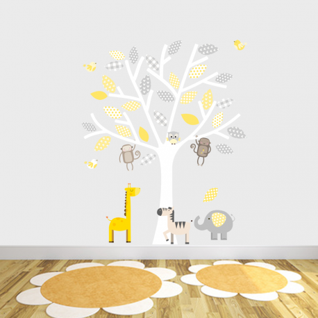 grey and yellow safari fabric wall stickers - littleprints