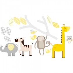 Grey And Yellow Branch And Animals Wall Stickers
