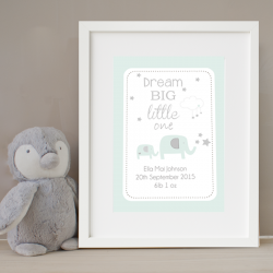 Personalised Dream Big Little One Elephant Print