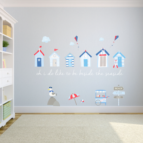 beach huts fabric wall stickers - littleprints