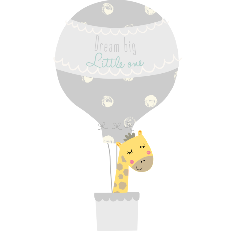 Grey hot air balloon wall stickers