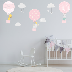 pink Hot Air Balloon Wall Stickers