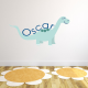 Dinosaur Fabric Name Sticker