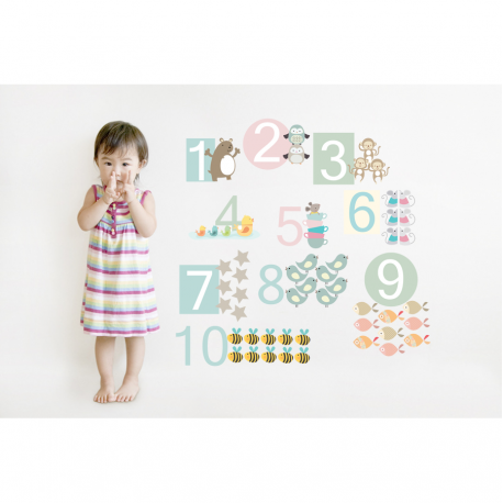 Number Fabric Wall Stickers