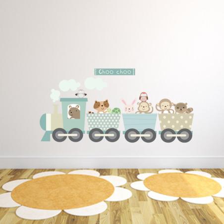 Animal Train Fabric Wall Sticker