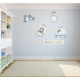 Button Moon Fabric Wall Stickers