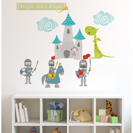 Knights and Dragon Fabric Wall Sticker