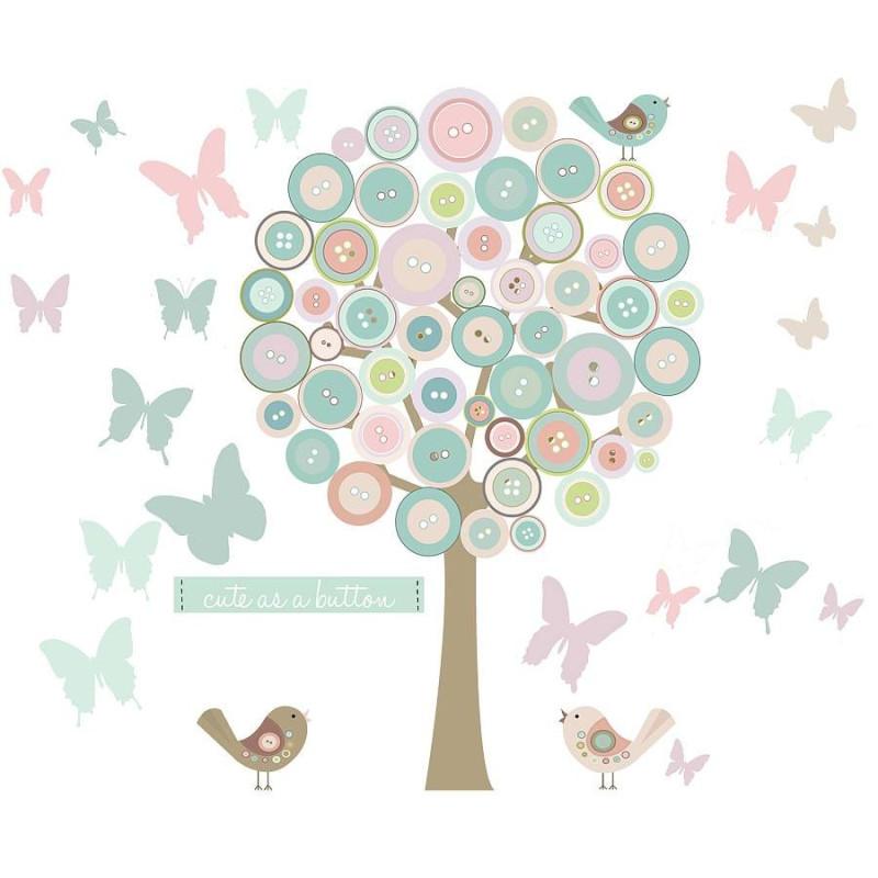 Button Tree And Butterflies Wallsticker