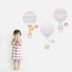 Pink or Blue Animal Hot Air Balloon Wall Stickers
