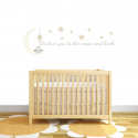 Moon and back Fabric Wall Stickers