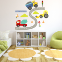 Diggers Fabric Wall Stickers