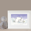 Personalised Polar Bear Watercolour Illustration Print