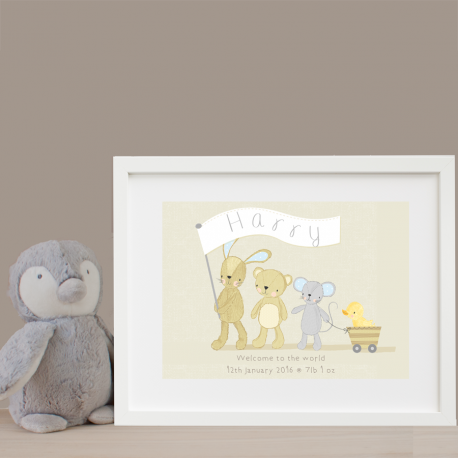 Personalised Teddy's Parade Cream Texture Print