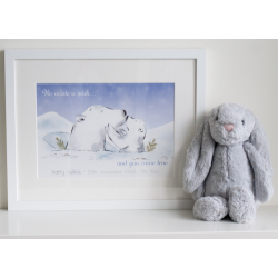 Personalised Polar Bear Watercolour Illustration Print