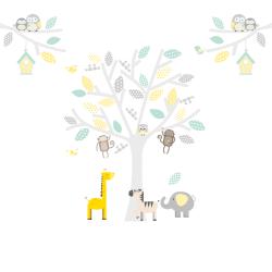 Yellow, Grey and Seagrass Safari Fabric Wall Stickers