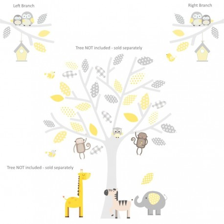 Safari Branch Grey,Yellow Or Seagrass Wall Stickers