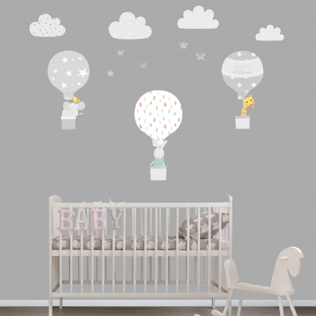 Grey Hot Air Balloon Wall Stickers Littleprints