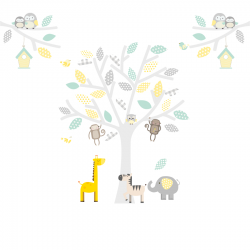 Small Yellow, Grey and Seagrass Safari Fabric Wall Stickers