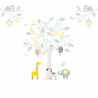 Small Yellow, Grey and Seagrass Safari Fabric Wall Stickers