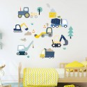 Diggers At Work Fabric Wall Stickers