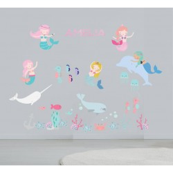 Mermaids Fabric Wall Stickers