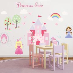 Princess And Unicorn Fabric Wall Stickers