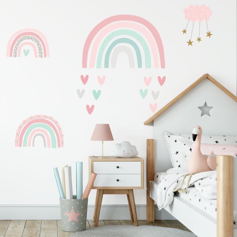 Rainbow fabric wall stickers